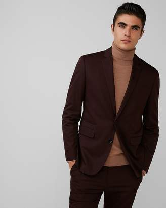 Express Slim Burgundy Cotton Sateen Suit Jacket