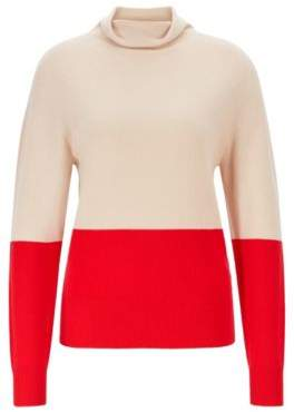 Seamless color-block sweater in pure cashmere