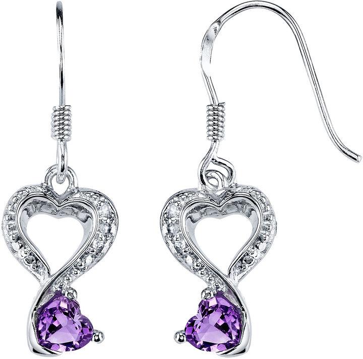 JCPenney FINE JEWELRY Love Grows™ Genuine Amethyst & White Topaz Heart Earrings