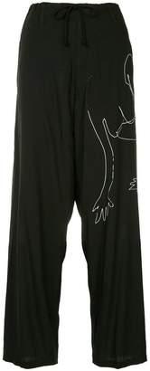 Yohji Yamamoto line drawing drawstring trousers