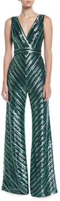 Theia V-Neck Sleeveless Sequin Stripe Jumpsuit