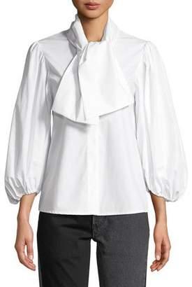Isa Arfen Esther Tie-Neck Blouson-Sleeve Poplin Top