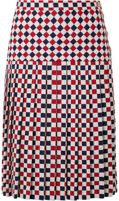 Gucci Pleated Checked Wool-blend Crepe Midi Skirt - Red