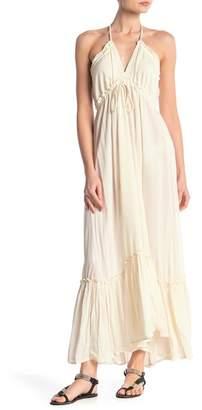 BOHO ME Halter Ruffle Hem Maxi Dress