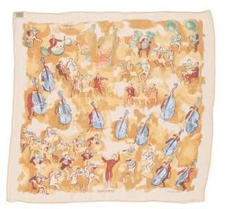 Hermes Concerto Silk Mousseline Pocket Square
