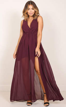 Showpo Melt Your Heart maxi dress in wine - 8 (S) Occasion Dresses