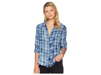 True Grit Dylan by Washed Vintage Double Weave Denim Plaid Long Sleeve Shirt