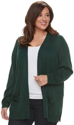 Croft & Barrow Plus Size Essential Open Front Cardigan