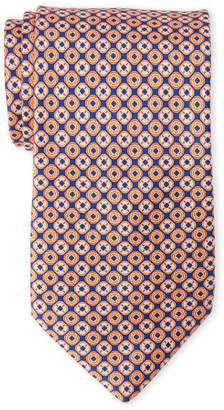 Lanvin Orange Medallion Print Silk Tie
