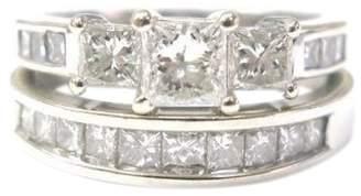 14K White Gold with Diamond Wedding Ring Set Size 6