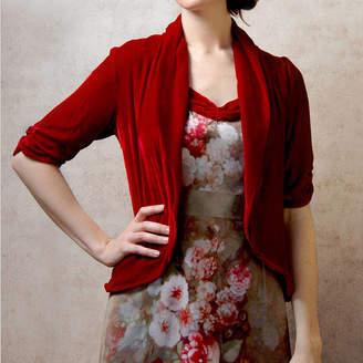 M·A·C Nancy Mac 1940s Style Tea Jacket In Deep Red Silk Velvet