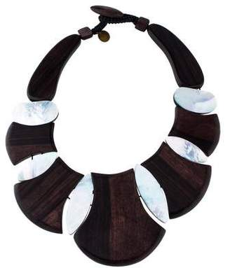 Viktoria Hayman Bellissima Wood & Mother-of-Pearl Collar Necklace