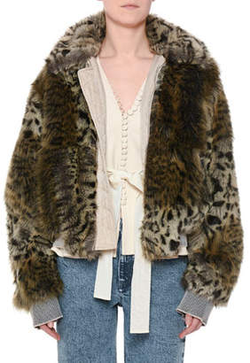 Stella McCartney Animal-Print Faux-Fur Short Coat