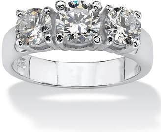 PalmBeach Jewelry Palm Beach Jewelry 2.10 TCW Round Cubic Zirconia Sterling Silver 3-Stone Ring