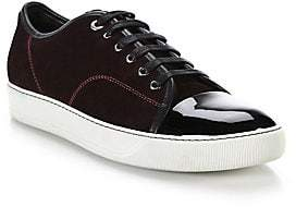 Lanvin Men's Suede& Patent Leather Low-Top Sneakers
