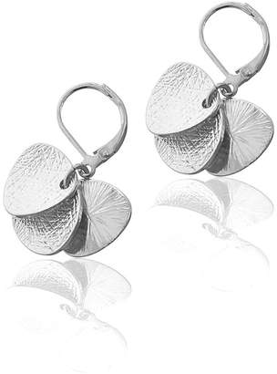 Ella Silver Abstract Textured Coin Trio Leverback Drop Earrings