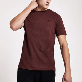 River Island Red waffle slim fit short sleeve T-shirt