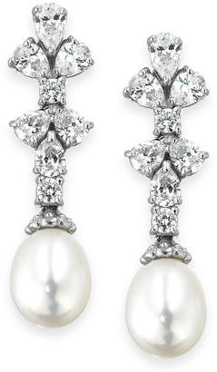 Arabella Bridal Cultured Freshwater Pearl (8mm) and Swarovski Zirconia (1-3/4 ct. t.w.) Earrings in Sterling Silver