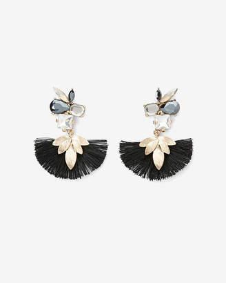 Express Mixed Stone Leaf Tassel Drop Earrings