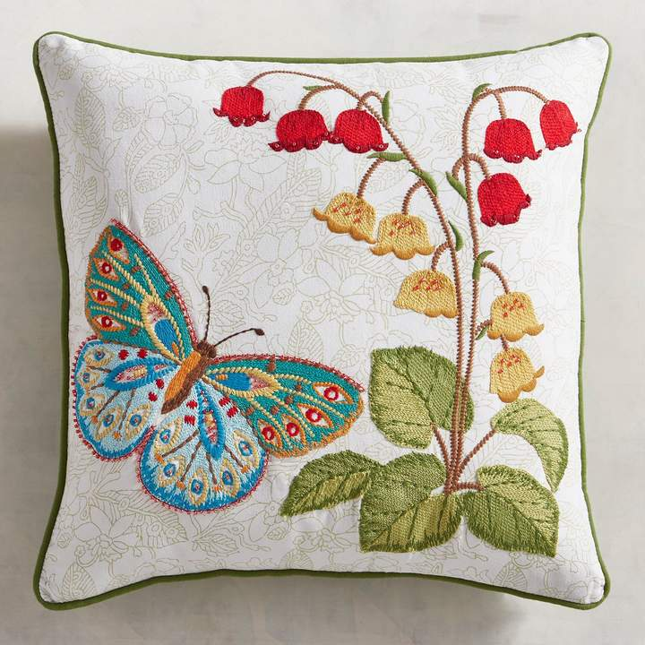 Butterfly with Flowers Pillow
