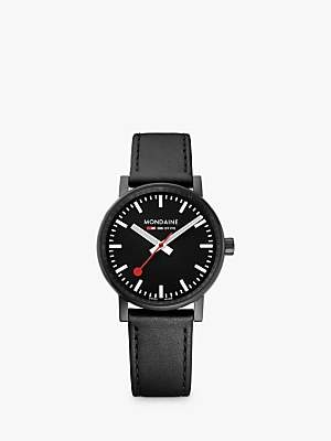 Mondaine MSE.35121.LB Unisex Evo 2 Leather Strap Watch, Black