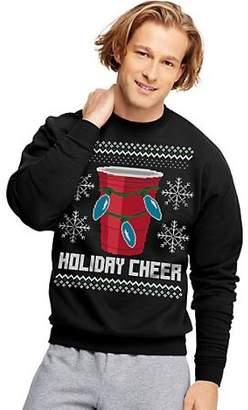 Hanes EcoSmart Fleece Men's Holiday Sweatshirt Holiday Cheer Graphic