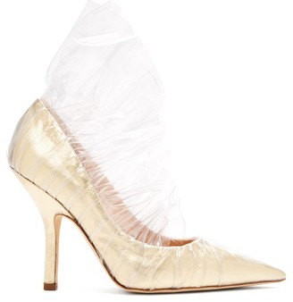 Midnight 00 Shell Lame & Pvc Ruched Pumps - Womens - Light Gold