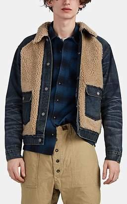 Ralph Lauren RRL Men's Grizzly Sherpa-Paneled Denim Jacket - Md. Blue