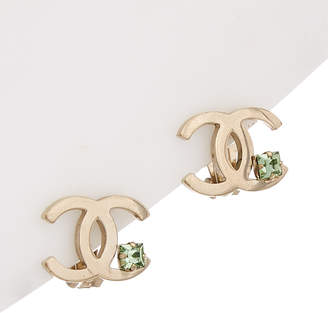 Chanel Silver-Tone & Crystal Cc Clip-On Earrings