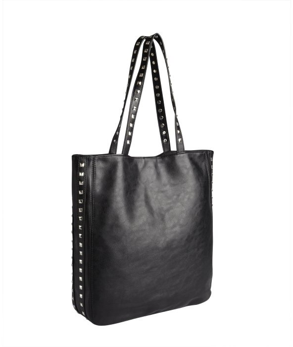 Wyatt black vegan leather pyramid studded tote bag