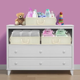 BEIGE Sorbus Trapezoid Storage Bin Box Basket Set Foldable with Cotton Rope Carry Handles Great for Closet,Clothes, Linens, Toys, Nursery - Non-woven Fabric - (3 Pack,