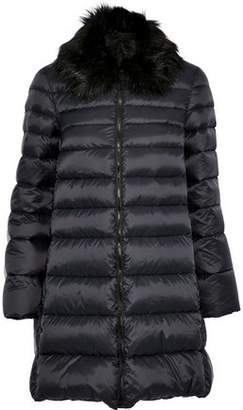 RED Valentino Faux Fur-Trimmed Quilted Shell Coat