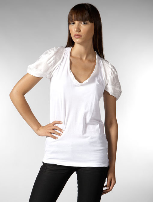 Clu Bubble Sleeves T-Shirt in White