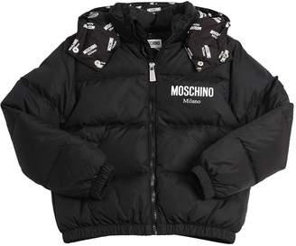 Moschino Logo Printed Nylon Down Jacket