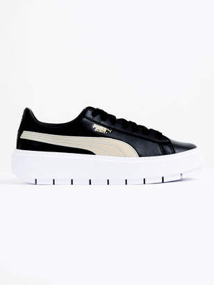 Puma Womens Trace Varsity Platform Sneakers in Gold Black Leather
