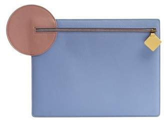 Roksanda Aplin Pebbled Leather Clutch - Womens - Blue Multi