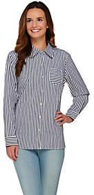 Denim & Co. Long Sleeve Button Front StripedShirt