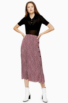 Topshop Pink Animal Print Pleat Midi Skirt