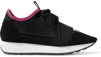 Balenciaga - Race Runner Leather, Mesh And Neoprene Sneakers - Black $695 thestylecure.com