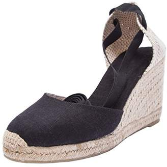 "U-lite 3"" Wedge, Soft Ankle-Tie, Closed Toe, Classic Linen Espadrilles Heel Sandals 8"