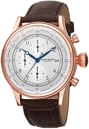 Akribos XXIV Men's Genuine Leather Chronograph Watch