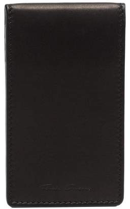 Rick Owens black logo embossed leather billfold cardholder