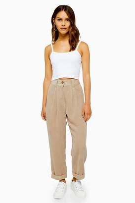 Topshop Womens Petite Casual Corduroy Trousers - Stone