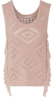 Autumn Cashmere Tabard Tasseled Open-Knit Cotton Sweater