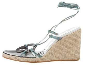 Etro Lace-Up Wedge Sandals