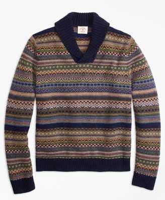 Brooks Brothers Fair Isle Wool-Blend Shawl-Collar Sweater