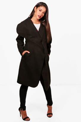 boohoo Maternity Oversized Waterfall Belted Coat