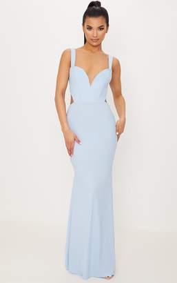 PrettyLittleThing Dusty Blue Backless V Bar Maxi Dress