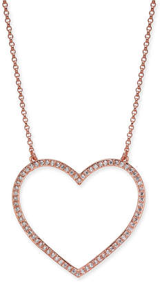 """Kate Spade Rose Gold-Tone Pave Heart Pendant Necklace, 17"""" + 3"""" extender"""