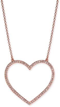 "Kate Spade Rose Gold-Tone Pavé Heart Pendant Necklace, 17"" + 3"" extender"